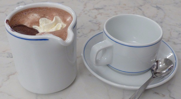 hot chocolate with cream and cup